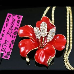 Betsey Johnson Red Bauhinia Flower Necklace🍃🆕🍃
